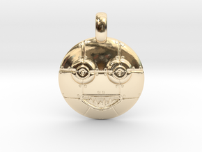 3D Sculpted Robot Head Pendant  in 14k Gold Plated Brass