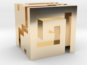 Nuva Cube in 14k Gold Plated Brass