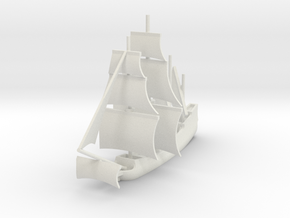 1/1000 Sailing Steam Galleon in White Natural Versatile Plastic