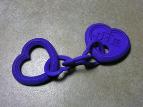 Heart Key Chain (Monogrammed) in Purple Strong & Flexible Polished