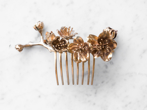 Cherry Blossom Comb in Polished Bronze