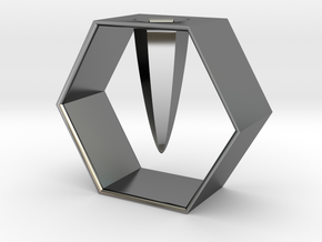 HEXAGON pen holder in Fine Detail Polished Silver