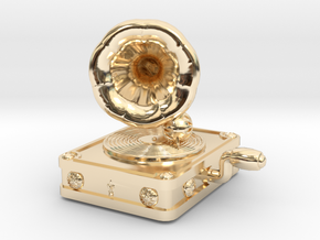 Gramaphone Half Inch Game Piece in 14k Gold Plated Brass
