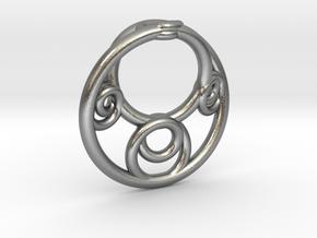 Möbius Fractal Pendant in Natural Silver