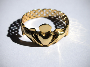 Claddagh Ring in Polished Brass: 7.75 / 55.875