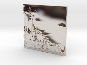 Manhattan Skyline in Rhodium Plated Brass