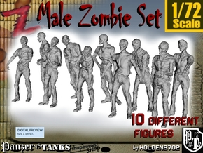 1-72 Male Zombie Set in Smooth Fine Detail Plastic