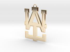 2 inch WAI Symbol Beveled Pendant in 14K Yellow Gold