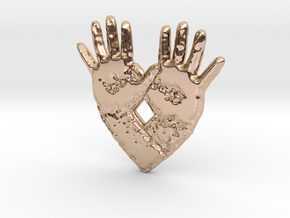 open hand open heart in 14k Rose Gold Plated Brass