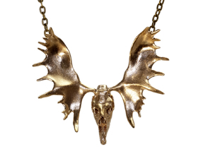 Moose Skull Pendant in Natural Brass