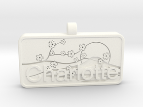Charlotte Name Tag kanji katakana in White Strong & Flexible Polished