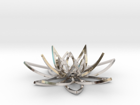 Lotus flower in Rhodium Plated Brass