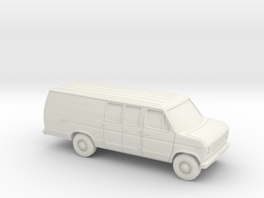 1/87 1975-91 Ford E-Series Delivery Van Extendet in White Natural Versatile Plastic