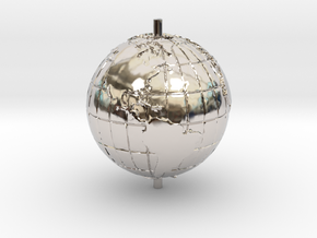 "World 1.25"" (Globe) in Rhodium Plated"