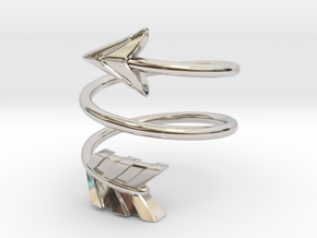 Spiral Arrow Ring - 17.35mm - US Size 7 in Rhodium Plated Brass