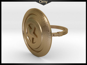 Captain America Ring - 18.19mm - US Size 8 in Polished Gold Steel