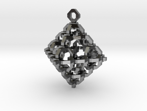 Diamond Cage Pendant in Polished Silver