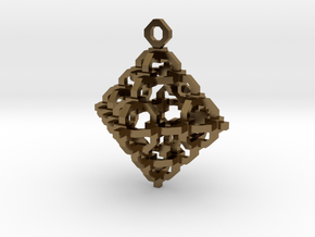Diamond Cage Pendant in Polished Bronze