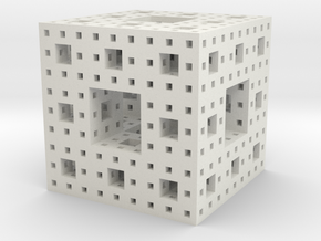 Level 3 Menger Sponge in White Natural Versatile Plastic