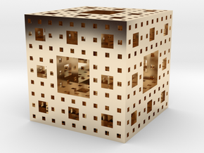 Level 3 Menger Sponge in 14K Yellow Gold