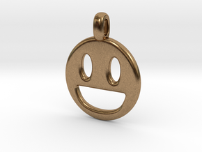 Happy Smile 3D printed jewelry pendant in Natural Brass