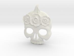 BlakOpal Skull with Rose Crown Charm in White Natural Versatile Plastic