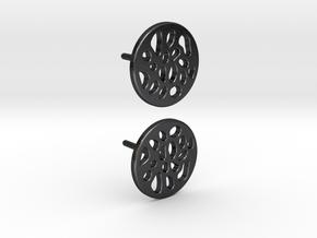 EARRINGS STUD LOBULAR  in Polished and Bronzed Black Steel