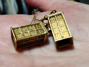 T.A.R.D.I.S. earrings in Natural Brass