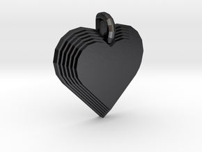Heart Necklace Pendant in Polished and Bronzed Black Steel