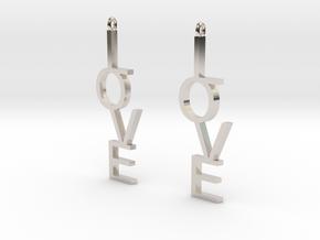 Love Earrings Large  in Platinum