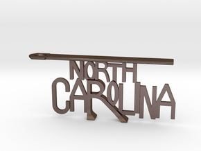 North Carolina Bottle Opener Keychain in Polished Bronze Steel