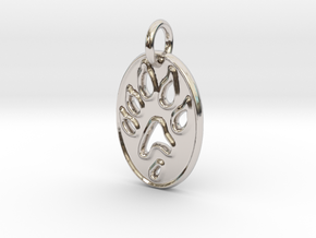 Tiny paw print ferret necklace in Rhodium Plated Brass