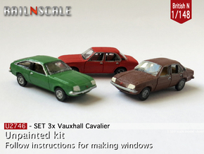 SET 3x Vauxhall Cavalier (British N 1:148) in Frosted Ultra Detail