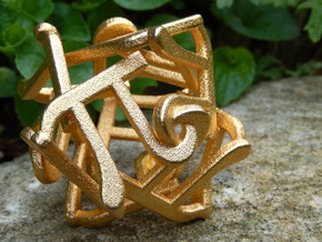 Twelve Pi Sculpture  in Matte Gold Steel