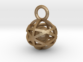 Charm: Hollow Sphere with Ball 1 in Matte Gold Steel