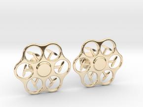 Hex Drone Cufflinks in 14k Gold Plated Brass