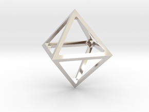 Octahedron Pendant in Rhodium Plated Brass