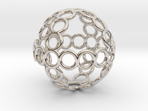 Charm: Sphere of Rings in Rhodium Plated Brass