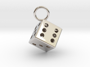 Charm: Dice in Rhodium Plated Brass