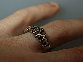 Voronoi Ring  in Polished Bronzed Silver Steel