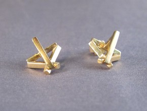Ingot Earrings in 14k Gold Plated Brass