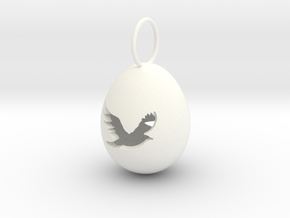 Bird Egg Pendant in White Strong & Flexible Polished