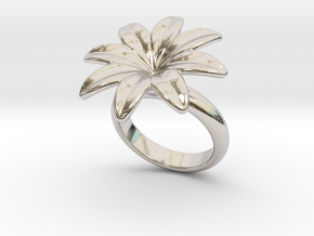 Flowerfantasy Ring 17 - Italian Size 17 in Rhodium Plated Brass