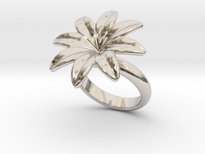 Flowerfantasy Ring 18 - Italian Size 18 in Rhodium Plated Brass