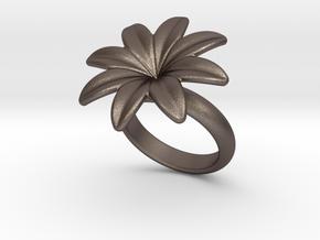 Flowerfantasy Ring 20 - Italian Size 20 in Polished Bronzed Silver Steel