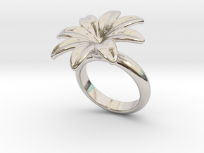 Flowerfantasy Ring 23 - Italian Size 23 in Rhodium Plated Brass