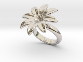 Flowerfantasy Ring 24 - Italian Size 24 in Rhodium Plated Brass