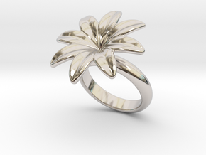 Flowerfantasy Ring 32 - Italian Size 32 in Rhodium Plated Brass