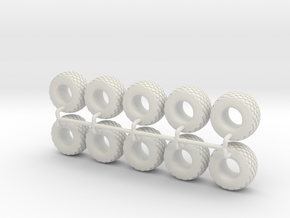 1/64 28L-26 Tires in White Strong & Flexible