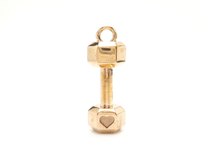 Large Dumbbell With Heart Detail Pendant in Polished Bronze